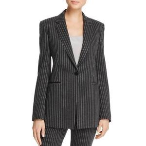 Theory Charcoal Pinstripe Knit Power Jacket Size 8